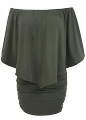 Army Green Ruffle Overlay Open Back Dress