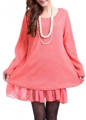 Bowknot Decorated Pink Patchwork Design Sweater Dress
