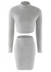 High Neck Grey Sheath Sweater Dress