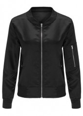 Long Sleeve Black Zipper Closure Jacket