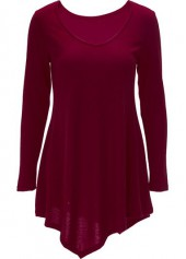 Asymmetric Hem Wine Red V Neck T Shirt