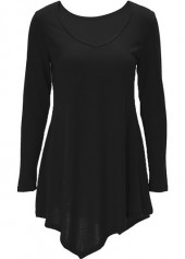 V Neck Asymmetric Hem Black T Shirt