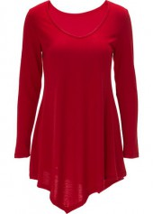 Long Sleeve Red Asymmetric Hem T Shirt