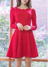Red High Waist Long Sleeve Lace Dress