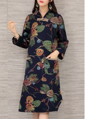 Flower Print Long Sleeve Pocket Design Dress