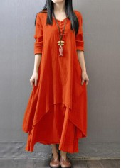 Long Sleeve Button Decorated Orange Maxi Dress