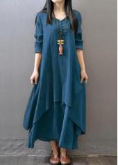 wholesale Button Design Long Sleeve Maxi Dress