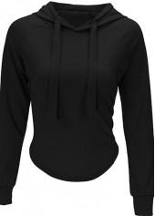 Drawstring Design Long Sleeve Black Hooded Sweatshirt