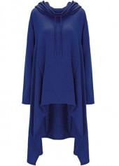 Pocket Design Navy Blue Pullover Hoodie