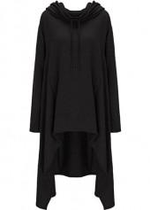 Black Pocket Design Asymmetric Hem Hoodie