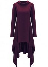 Long Sleeve Asymmetric Hem Hooded Purple Sweatshirt