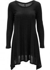Long Sleeve Asymmetric Hem Black Blouse