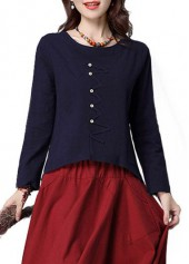 Navy Blue Round Neck Long Sleeve Blouse