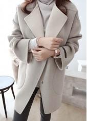 Pocket Design Long Sleeve Turndown Collar Coat