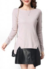 Beige Long Sleeve Round Neck Slit Design Sweater