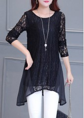 Round Neck Long Sleeve Black Blouse