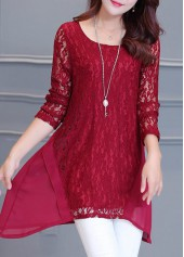 Long Sleeve Wine Red Lace Panel Blouse