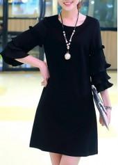 Zipper Closure Round Neck Black Dress