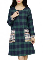 Green Pocket Design Plaid Print Dress