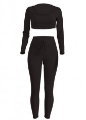 Black Hooded Top and High Waist Pants
