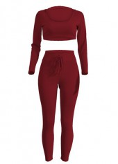 Hooded Collar Top and Red Pants