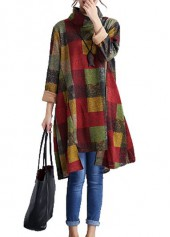 Long Sleeve Asymmetric Hem Plaid Print Turtleneck Dress
