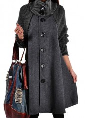 wholesale Long Sleeve Button Closure Grey Swing Coat
