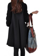 wholesale Button Closure Black Long Sleeve Swing Coat