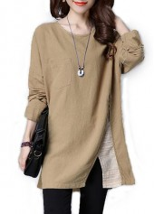 Slit Design Round Neck Patchwork Khaki Blouse
