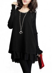 Black Round Neck Long Sleeve Patchwork Dress