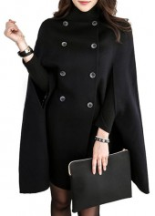 Solid Black Double Breasted Cloak Long Coat