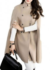 Apricot Double Breasted Cloak Long Coat