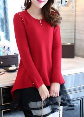 Mesh Panel Rivet Decorated Round Neck Red Sweater