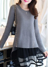 Long Sleeve Mesh Panel Rivet Decorated Grey Sweater