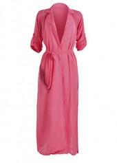 Open Front Belt Design Rose Chiffon Maxi Kimono