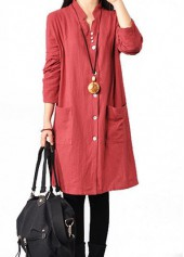 Button Closure Side Slit Red Long Sleeve Dress