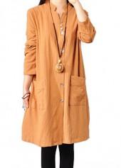 Yellow Side Slit Button Closure Long Sleeve Dress