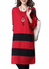 Red Round Neck Long Sleeve Striped Dress