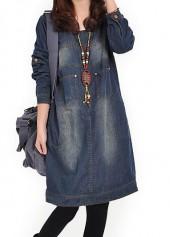 Navy Blue Round Neck Long Sleeve Denim Dress