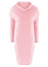 Cowl Neck Long Sleeve Pink Dress