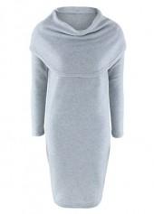 Long Sleeve Cowl Neck Grey Dress