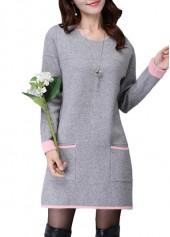 Grey Round Neck Long Sleeve Sweater Dress