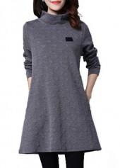 Deep Grey High Collar Long Sleeve Dress