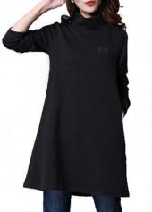 Long Sleeve High Collar Black Mini Dress