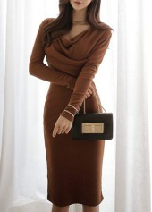 Brown Long Sleeve Cowl Neck Dress