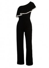 wholesale Black Flounce Design Skew Neck Jumpsuit