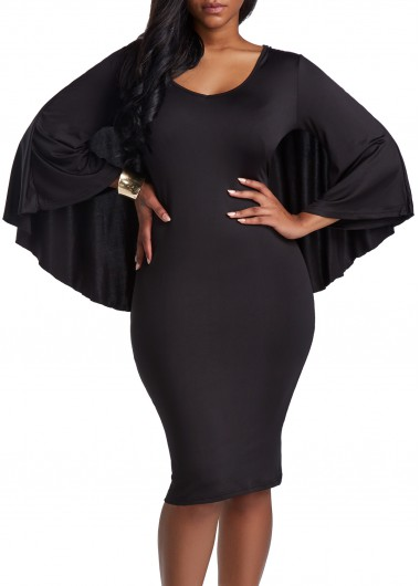 V Neck Black Cutout Back Cloak Bodycon Dress