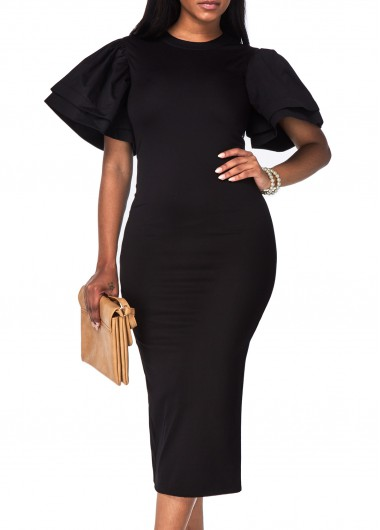 Black Petal Sleeve Round Neck Pencil Dress