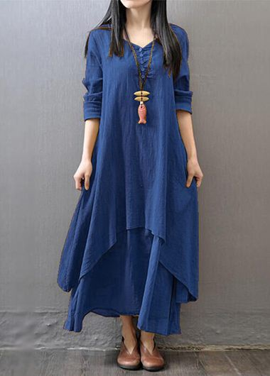 Long Sleeve Navy Blue V Neck Maxi Dress