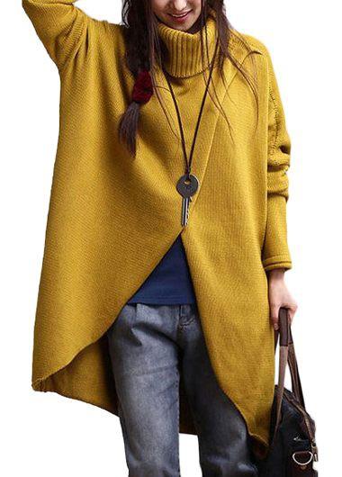 Turtleneck Asymmetric Hem Yellow Long Sleeve Sweater